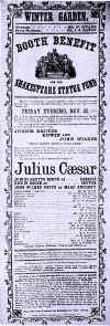 Playbill for the performance of the three Booth brothers in Julius Caesar-Photo-B&W.jpg (120545 bytes)